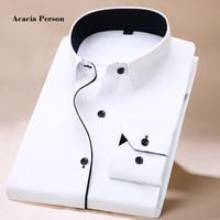 2018 New Long Sleeve Shirt Men White Striped Twill Shirt Brand Clothing Casual Mens Dress Shirts