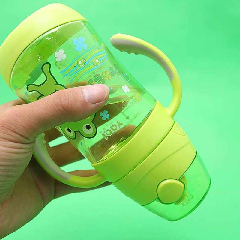 Детская пластиковая чашка C трубочкой бутылка 450 мл бутылочка для кормления ребенка Поильник с трубочкой милые Портативный стакан для Пеший Туризм Сиппи чашка с ручкой