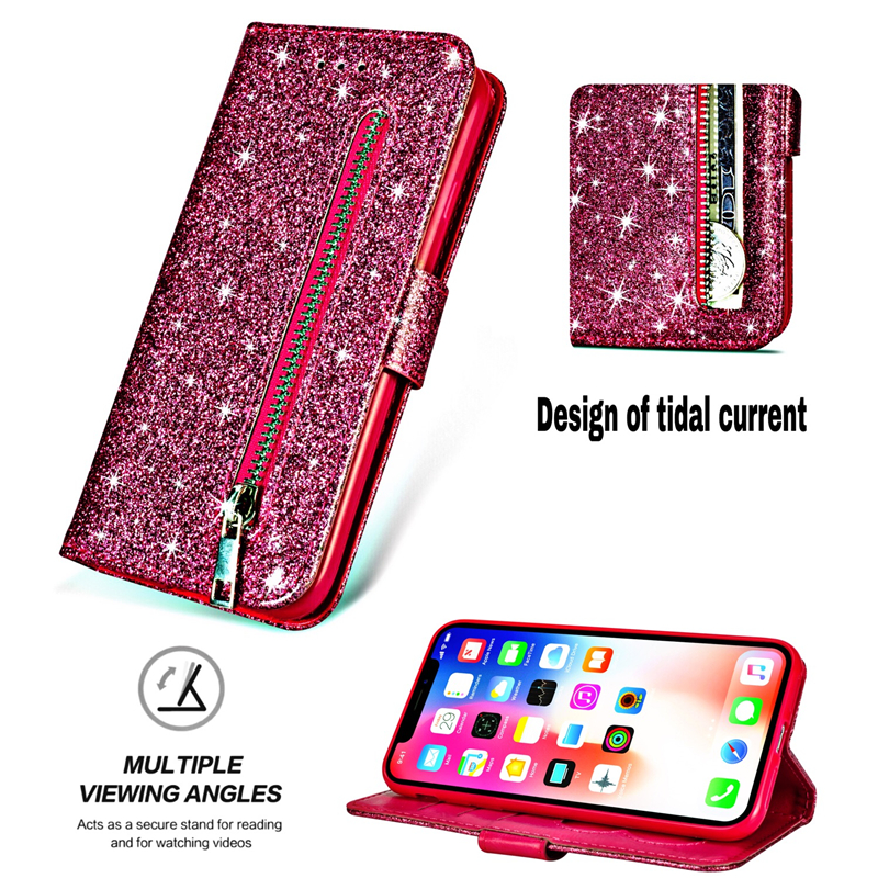 Case For iPhone 7 XS Max Zipper Wallet Case For iPhone X XR Glitter PU Leather Capa For iPhone 6 6s 7 8 Plus XI XIR 11 Pro Case in Fitted Cases from Cellphones Telecommunications