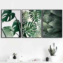 Wall Art Print Canvas Painting Fresh Green Big Leaves Nordic Posters And Prints Tropical Plants Wall Pictures For Living Room(China)