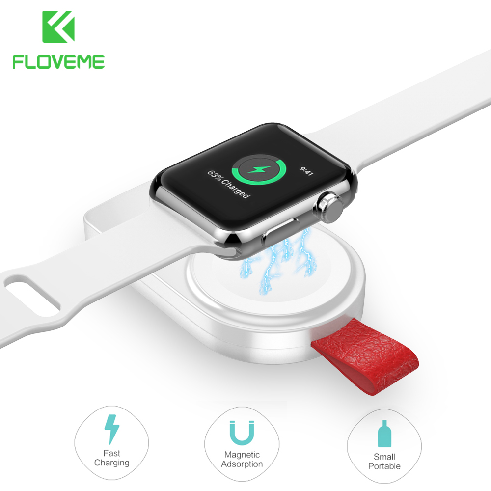 Floveme Protable Wireless Charger For Apple Watch Series 4 3 Watch Charging Mini 2mm Charger For i Watch 1 2 3 4 Dock Adapter