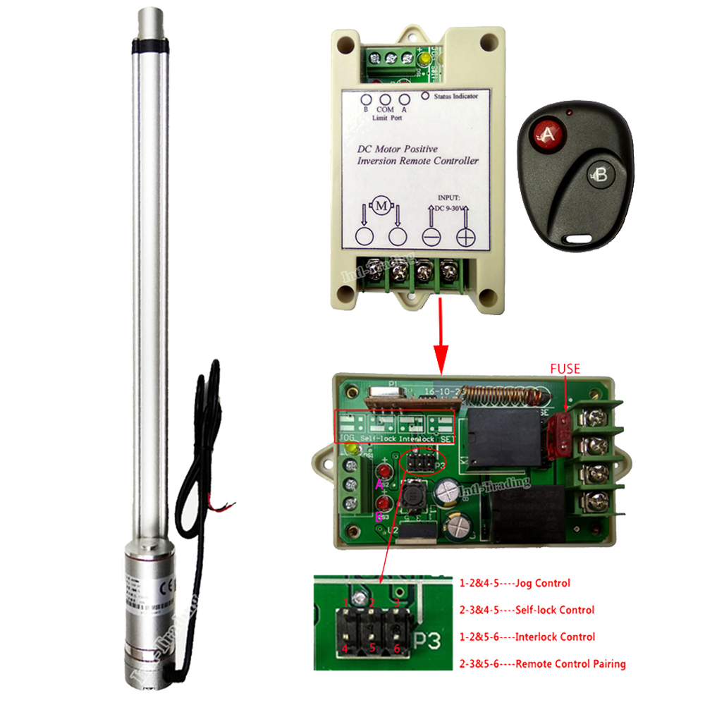 Wireless DC Motor Linear Actuator Controller 12V Forward Reverse Control Kits