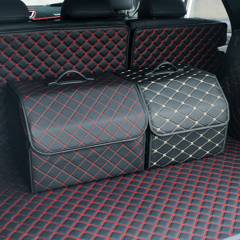 Car trunk Organizer Box PU leather Stowing Tidying Interior Holders Boot Food Stuff Automobile Storage Bags Storage Basket in Stowing Tidying from Automobiles Motorcycles