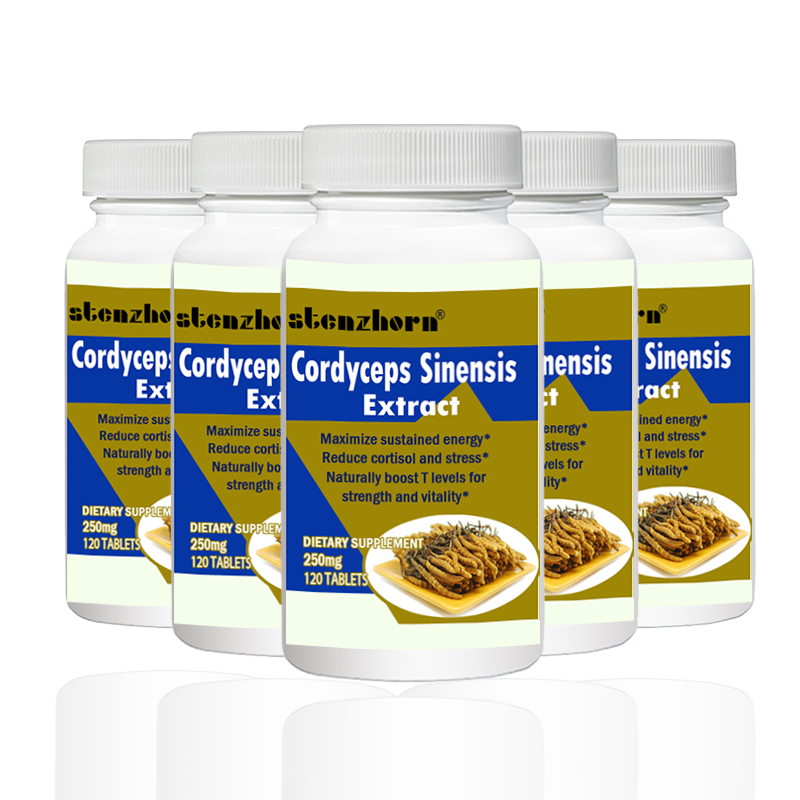 Cordyceps Sinensis    Extract Mushroom Extract  250mg120PCS X 5B Can Help The Body Fight Against Free Radical Damage.