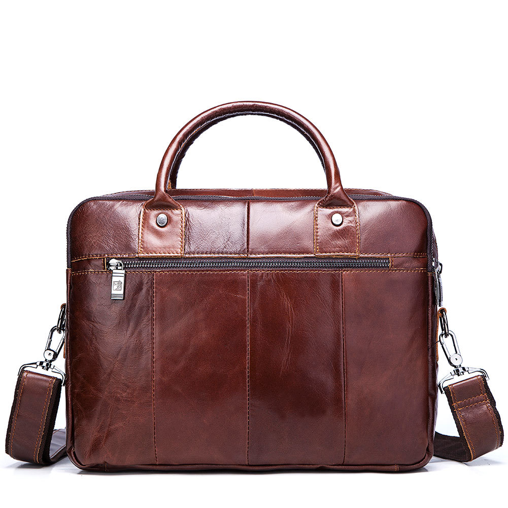 Bolsos de cuero genuino de los hombres primera capa de cuero de negocios portátil maletín bandolera bolso de cuero marrón bandolera - 4