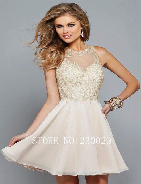87d04ce12f Short Homecoming Dresses 2015 Beige Chiffon A line vestidos de formatura  With Fashion Appliques vestidos graduacion Cheap