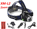 Good 3800LM Zoom XM-L2 LED Head Headlight Torch flashlight head light lamp +2x18650 Battery+Uk EU/US/AU/UK Car USB charger