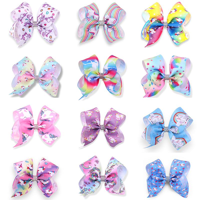 15PC/lot 5 Unicorn Ribbon Bows Girls Barrettes hair Clips Rainbow Hair Bows Hairpins For Girls Christmas Gift Hair Accessories 2017 new fashion hair clips for girls santa claus christmas tree snowman elk pattern xmas hairpins barrettes hair accessories
