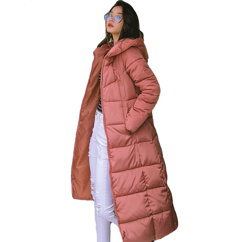 2019 Winter Women Jacket X-long Hooded Cotton Padded Female Coat High Quality Warm Outwear Womens Parka Manteau Femme Hiver(China)