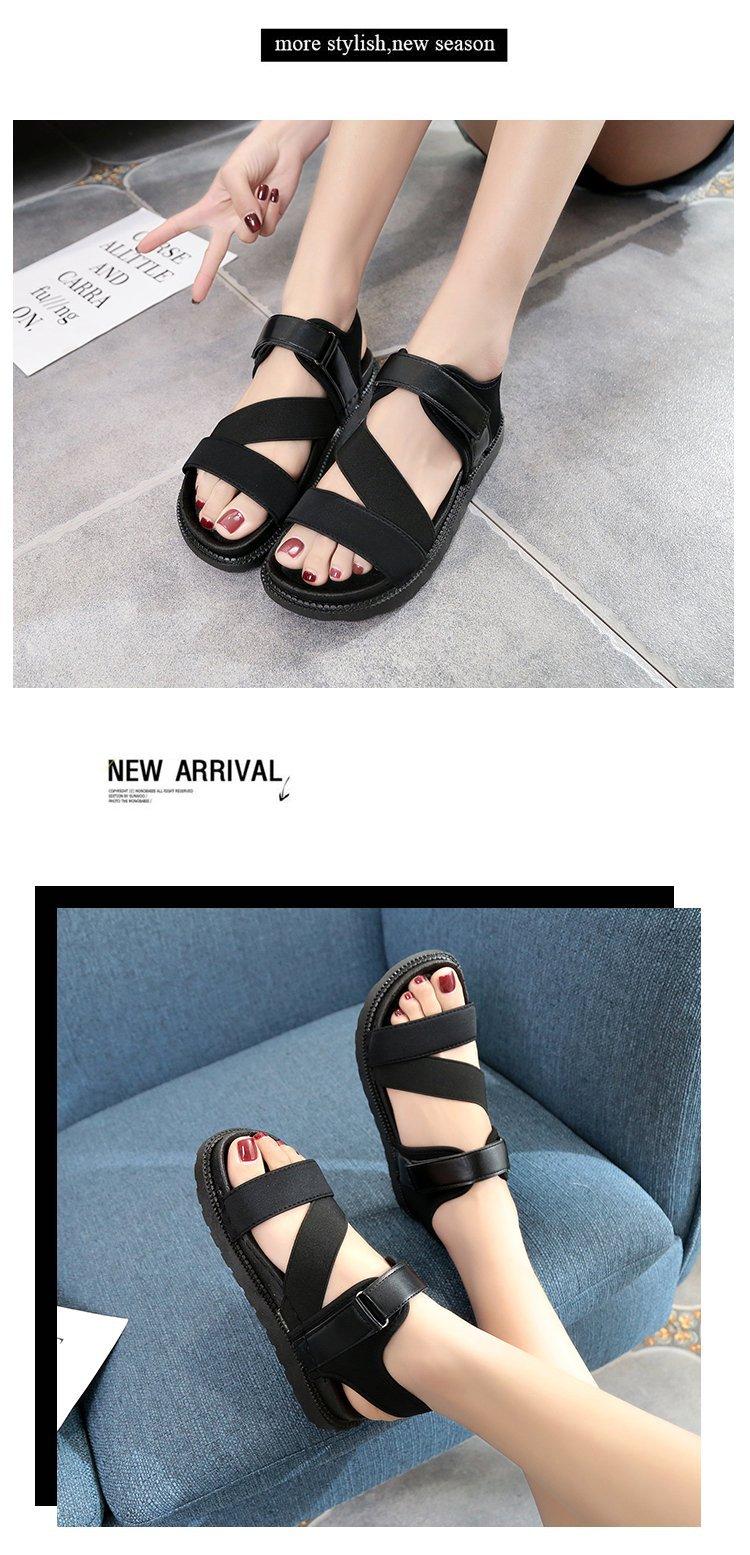 Summer Sandalias Mujer 2019 Shoes Woman Classics Gladiator Hook Loop Sandals Women Shoes Casual Flat Platform Block Heel Shoes 15