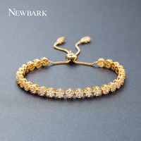 NEWBARK Luxury Adjustable Length Bracelet Bangle For Women 27pcs Flowers Chain Rose Gold Color Shining AAA