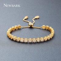 NEWBARK Luxury Điều Chỉnh Bracelet & Bangle đối với Phụ Nữ Vàng Màu 3 Màu Vòng AAA Cubic Zircon Flower Vòng Đeo Tay Bán Buôn