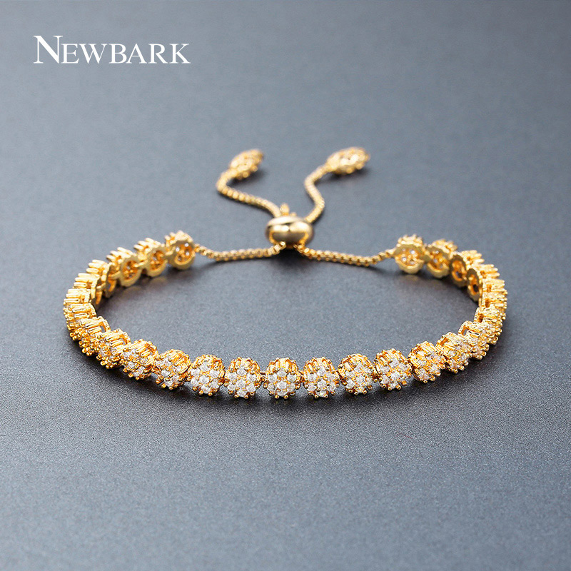 NEWBARK Luxury Adjustable Bracelet&Bangle for Women Gold Color 3 Color Round AAA Cubic Zircon Flower Bracelet Wholesale chic solid color round coin bracelet for women