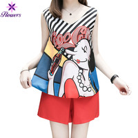 2018 Fashion Korean Summer Women Set Clothes S~4XL Plus Size Cartoon Loose V Collar Sleeveless Tops Shorts Two Piece Set LCR48