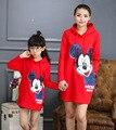 Correspondência da família Outono inverno roupas para mãe e filha roupas dos desenhos animados manga longa hoodies moletom além de roupas de lã