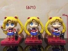 Anime 3PCS/SET Sailor Moon Tsukino Usagi Q Version PVC Action Figures Collectible Model Toys Dolls Brinquedos Christmas Gift