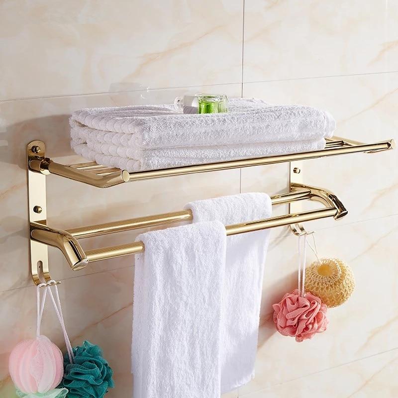 Bathroom stainless steel shelf Golden Finish towel shelf With hook ...