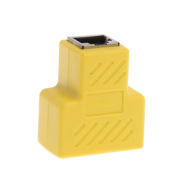 1Pc New 1 To 2 Way RJ45 LAN Ethernet Network Cable Splitter Extender T Adapter Connector Yellow/White/Red/Royal Blue C26