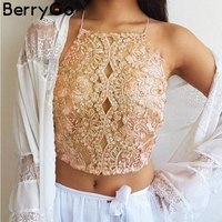 BerryGo Sexy Embroidery Lace Crop Top Women Backless Lace Up Halter Mesh Bralet Party Camis 2018