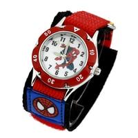 2015 New Fashion 3D Cartoon Spiderman Child Watch Velcro Kids Quartz Sport Watch Boys Wristwatch Relojes