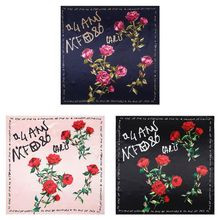 Women Satin Sunscreen Shawl Twill Jacquard Rose Flower Letter Square Neck Scarf European Pastoral Style Handbag Ribbon Headscarf