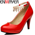 ENMAYER Factory Sell High Heel Shoes Fashion Rhinestone Ankle-straps Dress Wedding Pumps Hot Sale Pink Red Oversized 34-43