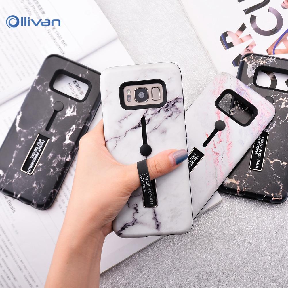 Marbre Silicone Téléphone étui pour samsung Galaxy A50 A70 S10 S10E A7 A6 A8 Plus 2018 S7 Bord S8 S9 Plus Note 8 9 Cacher Support