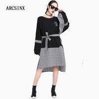 ARCSINX Large Size Dress Women 8XL 7XL 6XL 5XL 4XL 3XL 2018 Spring Autumn Oversize Plus