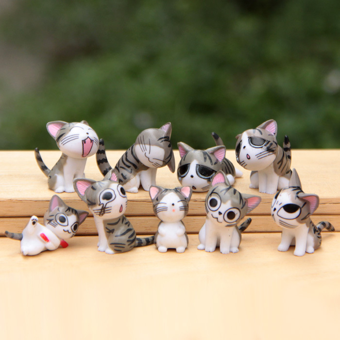 9pcs/set Chi Cat Toys Sweet Cheese cat Doll Figure Set Cat Furnishing 9pcs/set 3cm Height Eco bottle decorated figurine 9pcs set chi s sweet home cat cats figures animal decoration action figures collection model toys 3 4cm