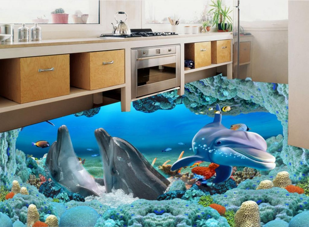 Wall papers Home Decor Plants 3D Floor Dolphin Underwater World Wallpaper-study-room Vinyl Flooring Background Video