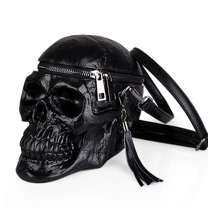 3D Skull Shoulder Bag Crossbones Messenger Bag Unisex Men Women Fashion Street Leather Zipper Handbags Punk