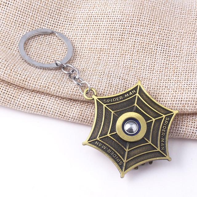 Avengers Super Hero Spiderman Rotatable Keychain Spider Red Web Pendant Key Chain for Women Men Keyring llaveros Jewelry 3