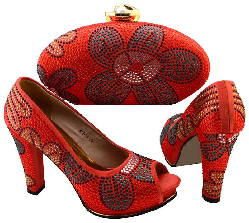 Очаровательная свадьба/партии высокой пятки партии сандалии обувь и сумки набор BCH-33 пятки 10.5 см оранжевый красный