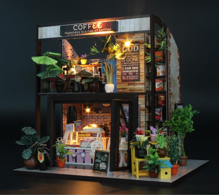 DIY коттедж собрать модель оптовая продажа путешествие во времени Cafe без пылезащитный чехол подарок на день рождения