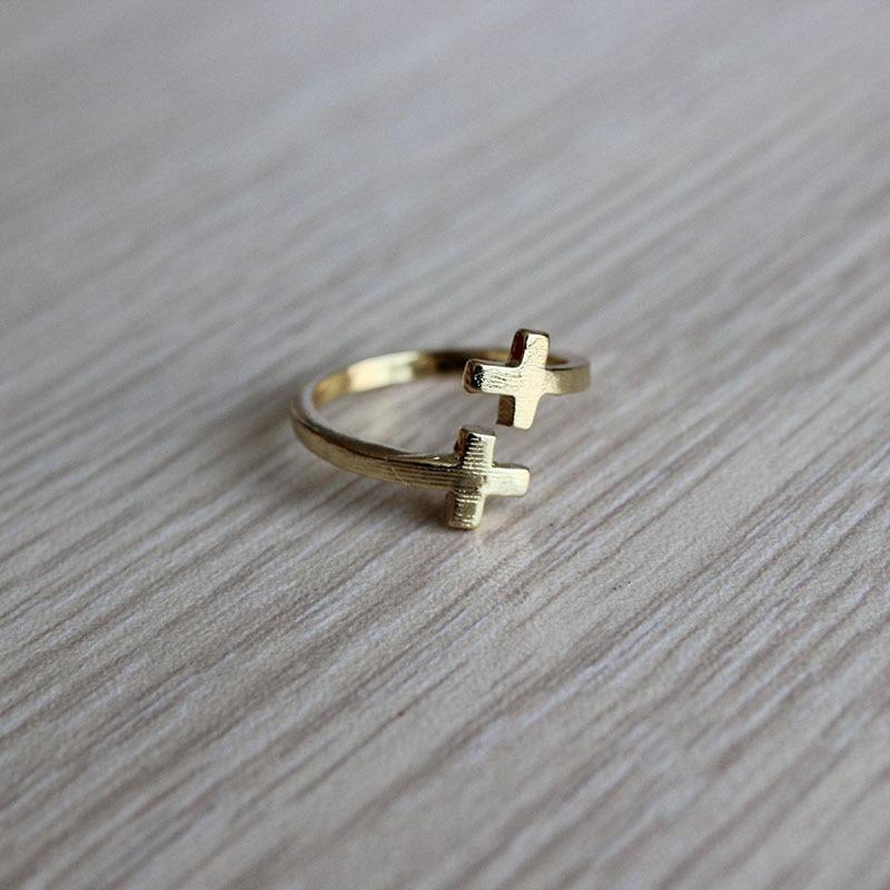 Wholesale 10pc Fashion Adjustable Double Cross Ring Antique Bronze Jesus Love Men Women Jewelry Unisex