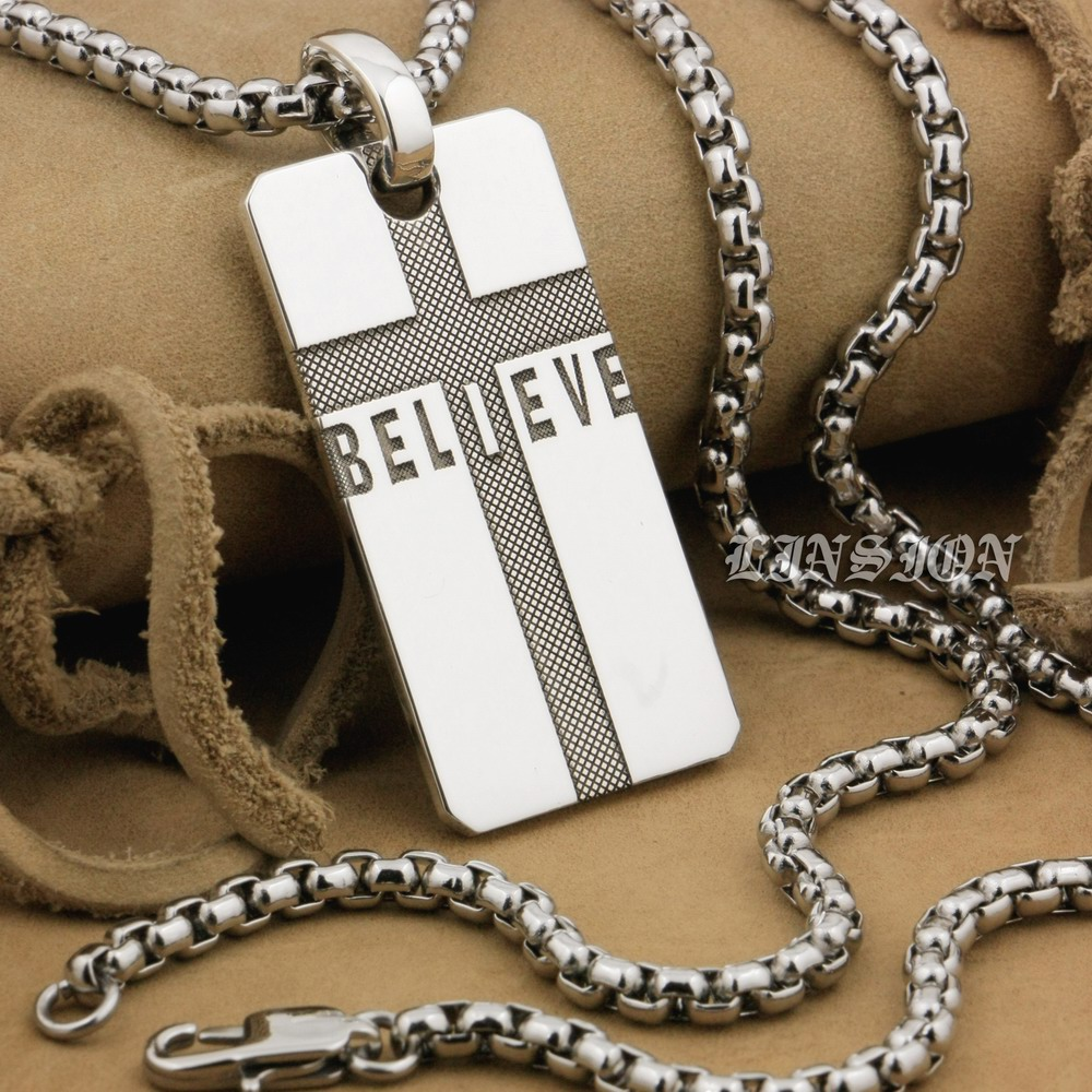 Linsion Handmade 999 Sterling Silver Believe Cross Charms