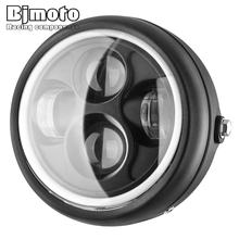 """BJMOTO for Harley Sportster Cafe Racer Bobber 6.5"""" Motorcycle LED Headlight Hi&Lo HeadLamp Bulb DRL With Angel Ring"""