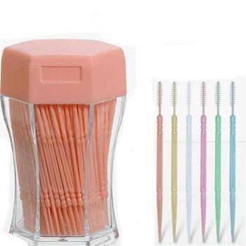 200pcs/set Soft Plastic double-head Brushed Toothpick Oral Care 6.2 Cm Hot Sale