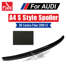 For Audi A4 A4a A4Q Spoiler Tail B8 S4 Style Carbon Fiber rear spoiler Rear trunk Lid Boot Lip wing car styling Decoration 09-12