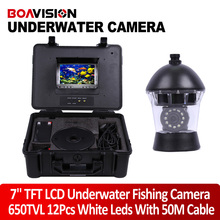 7″ TFT LCD Monitor 650TVL Camera Underwater Fish Finder Video Camera System HD 50M Cable Fishing Tackle Tool Rotate 360 Degree