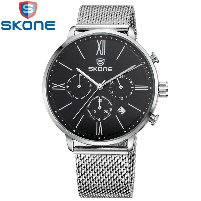 2016 New SKONE Brand Fashion Casual Watches Men Waterproof 30M Quartz Watch Man Stopwatch Date Stainless