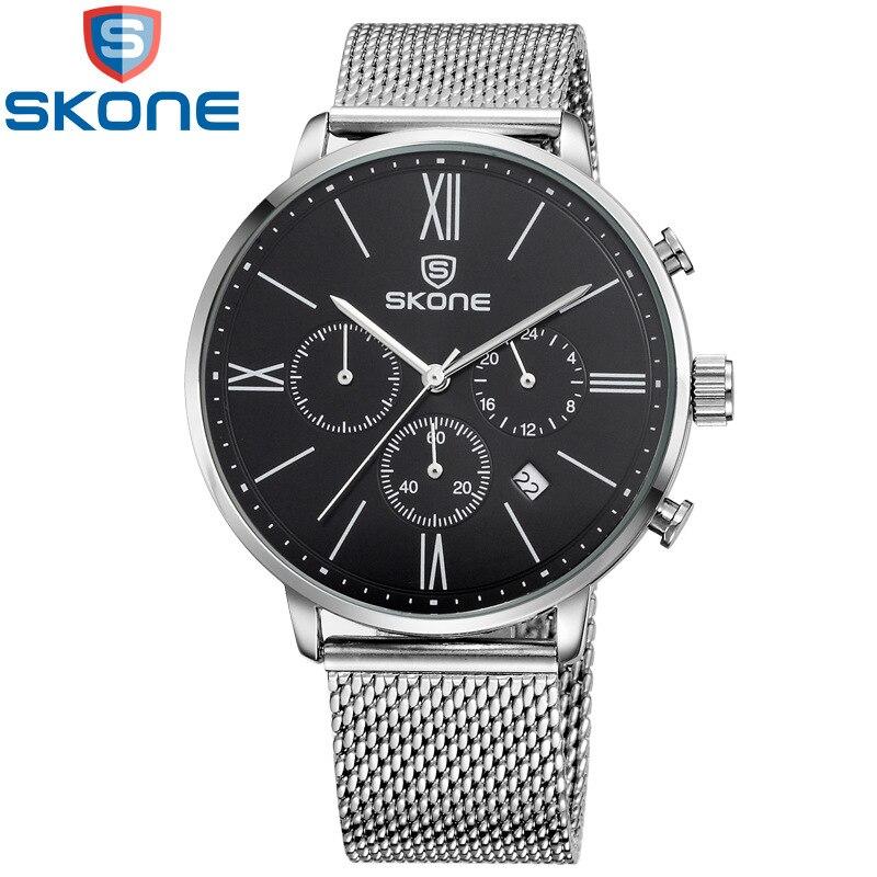 Skone Watch Men Stainless Steel Mesh Strap Quartz Fashion Casual Multi-function Male Watches Waterproof 30m relogio masculino skone relogio 9385