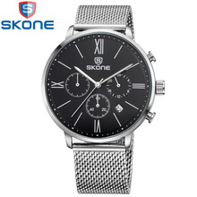 Skone Watch Men Stainless Steel Mesh Strap Quartz Fashion Casual Multi-function Male Watches Waterproof 30m relogio masculino