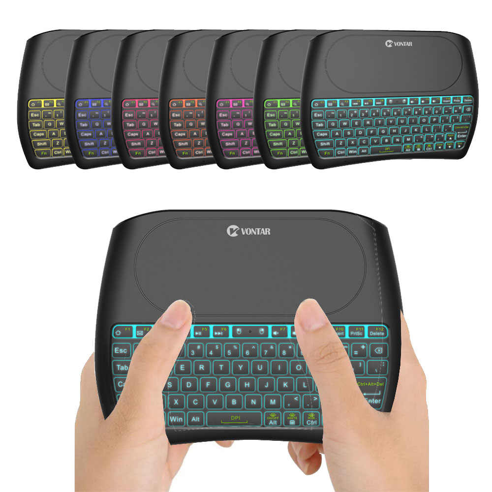 71c0bd6c98d 7 color Backlit D8 Pro Plus i8 English Russian 2.4Ghz Wireless Mini Keyboard  Air Mouse