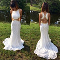 Moda de nova frisada branco prom dresses 2017 cortar sereia lace dress evening partido vestido custom made w03238