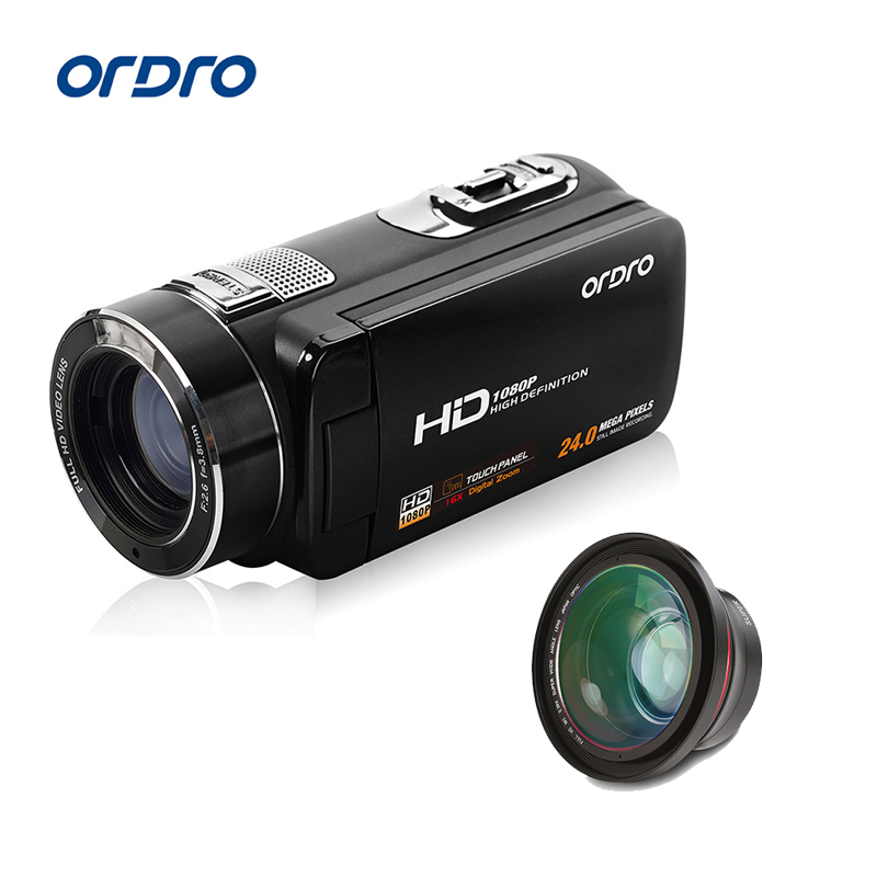 Ordro Digital Video Camera HDV-Z8 Plus 1080P 30fps FHD Camcorder with Super Wide Angle Lens Remote Control USB Port HDMI Output winait electronic image stabilization hdv z8 digital video camera with recording function touch screen