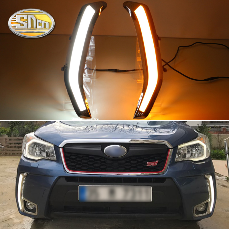 For Subaru Forester 2016 2017 2018 Yellow Turning Style Relay Waterproof Chromed Case Car DRL 12V LED Daytime Running Light SNCN