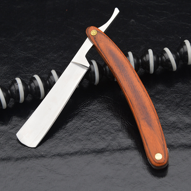 Mäns Rak Shaver Knife Retro Carbon Steel + Trähantering Man - Rakning och hårborttagning