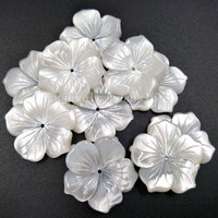 10pcs Wholesale Free Shipping Fashion Jewelry 25mm Beautiful White Mother of pearl Shell Art Flower wommen Pendant Bead MC4814
