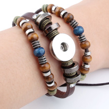 Hot Snap Bracelets & Bangles Newest Design Vintage Style Beads Leather Bracelet FIt 18/20MM Snaps Button Jewelry(China)